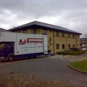 moving van outside commercial property