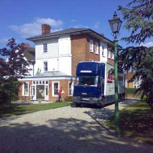 moving van outside home